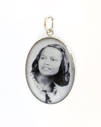 Photo Charm /18x25mm Sterling Silver Oval with Resin