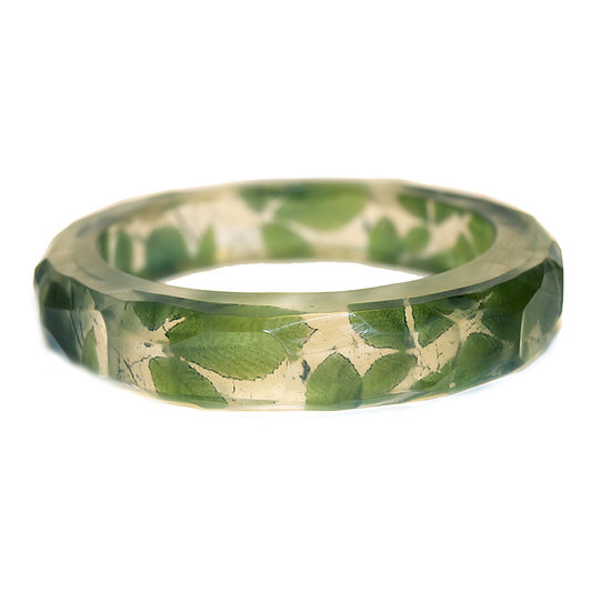 Green Leaves Resin Bangle/Large (in stock)