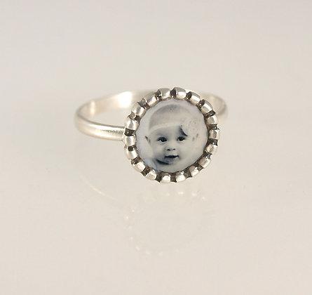 Personalized Tiny Beaded Edge Photo Ring
