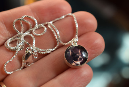 12 mm silver and glass photo charm