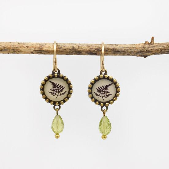 Fern Photo Earrings/Bronze & Peridot  (in stock)