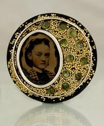 Tintype Photo and Peridot Brooch