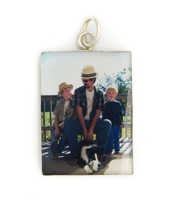 Photo Charm /18x25mm Personalized Sterling Silver Rectangle with Resin