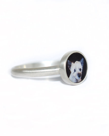 Photo Ring/Personalized/8mm Sterling Silver  Circle Photo Ring with Resin/