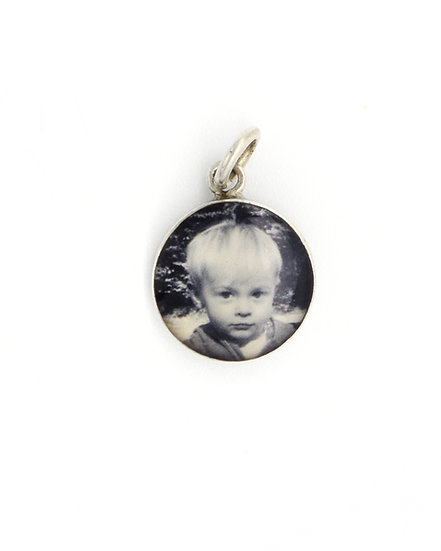 Photo Charm/12mm Sterling Silver Circle with Resin