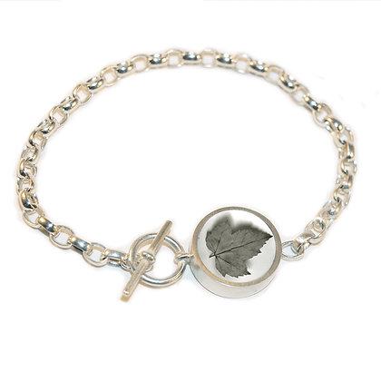 Maple Leaf Photo Rolo Chain Bracelet