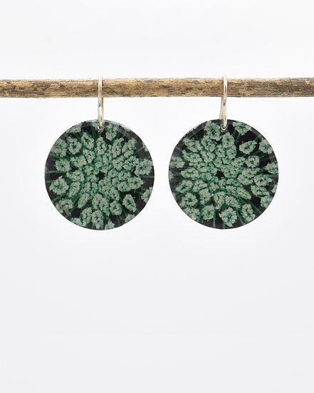 Queen Anne's Lace  Disc Earrings (made to order)