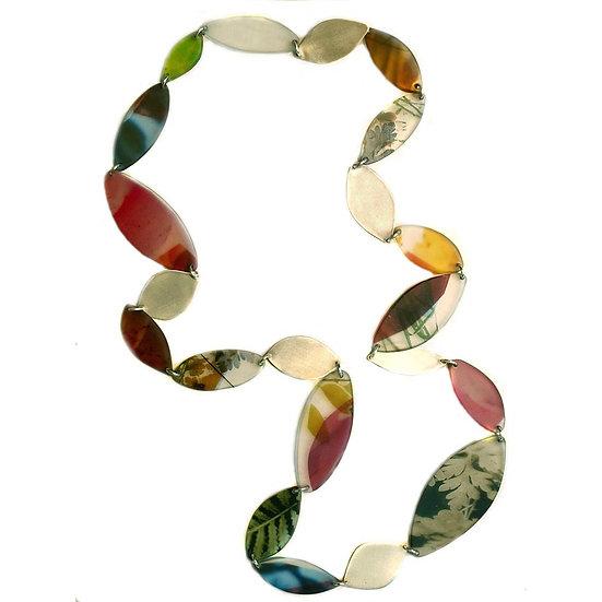 Long Resin and Metal Leaf Necklace (ORDER)
