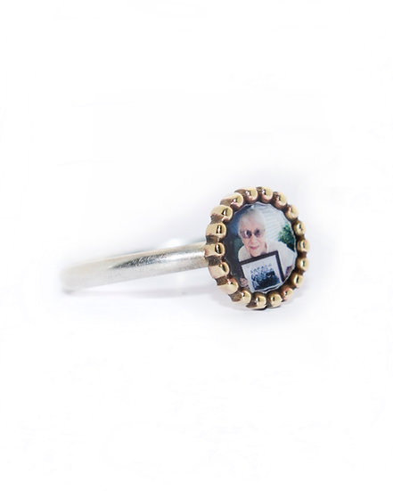 Photo Ring/Personalized Bronze & Silver Beaded Edge Circle with Photo an