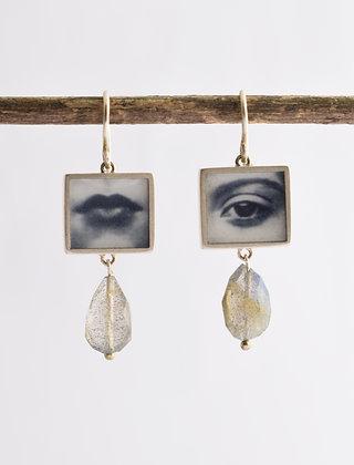 EYE & MOUTH Photo Earrings /IN STOCK/sterling silver