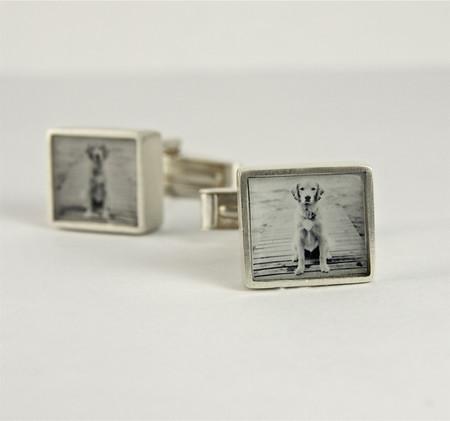 Square Silver Photo Cufflinks