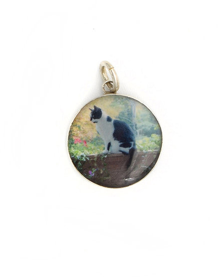 Photo Charm/15mm Sterling Silver Circle with Resin