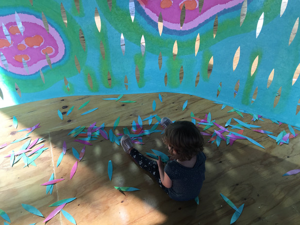 children interaction HEART OF THE MATTER site specific art installation NYC Climate week 2019