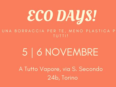 Eco days: vieni a pranzo il 5 e 6 novembre, ricevi una borraccia in alluminio!