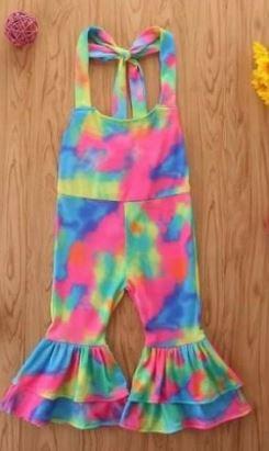 Girls Tie Dye Halter Jumpsuit