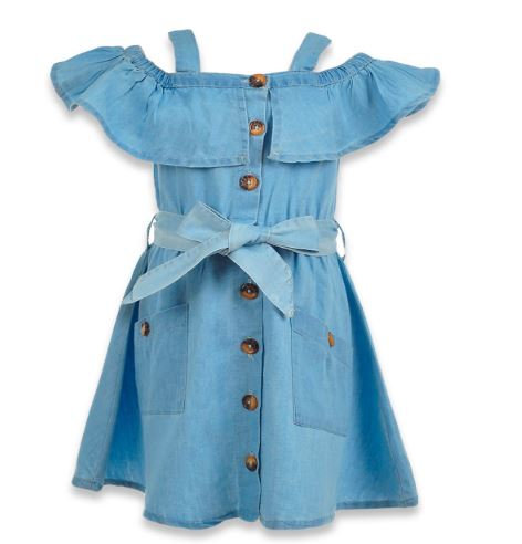 GIRLS' RUFFLE OFF-SHOULDER DENIM DRESS