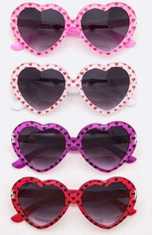 Printed Heart Shape Girl's Sunglasses