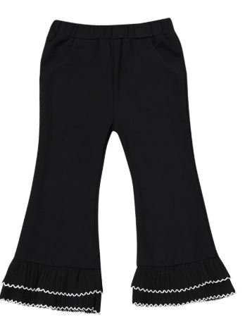 Stylish Black Ruffled Flared Pants Toddler Girl Casual Bell-bottoms