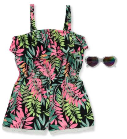 GIRLS' FLORAL ROMPER WITH SUNGLASSES
