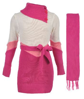 "LITTLE GIRLS' ""CHEVRON WAIST"" SWEATER DRESS WITH SCARF (Size 4, 5/6)"