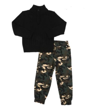 2 Pc Half Zip Sweater & Twill Jogger Pants Set