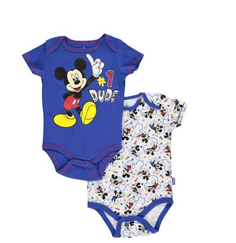 "Disney Mickey Mouse Baby Boys' ""#1 Dude"" 2-Pack Bodysuits"