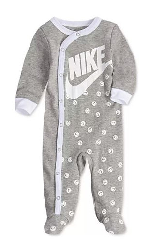 Baby Boys Smiley Print Footed Coveralls
