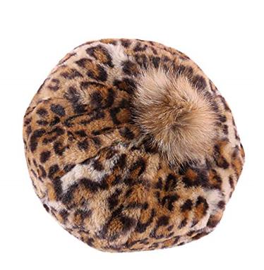 Women/Girl Leopard Print Hairball Beret