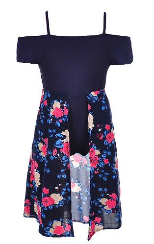 Girls Luv Pink Girls' Cold Shoulder Walk-Thru Dress