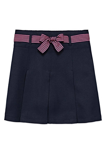 IZOD Elastic Waist Belted Short Scooter Skirt