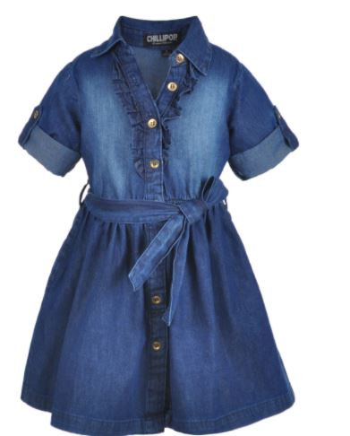 Ruffled Fade Belted Dress (Size 5/6)