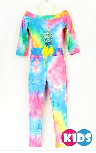 GIRLS TIE DYE JUMPSUIT WITH NECKLACE