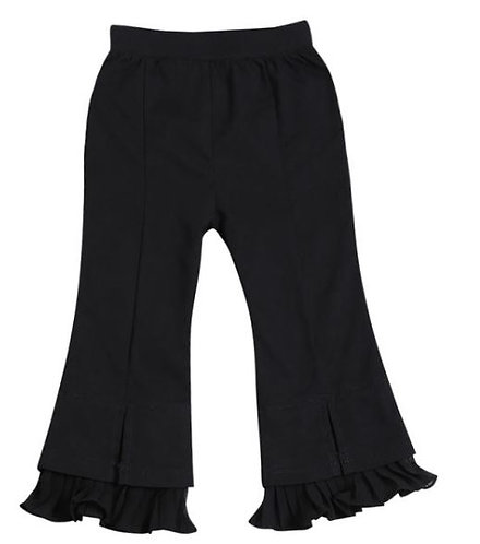 Fashion Black Ruffled Flared Pants Toddler Girl Bell-Bottoms