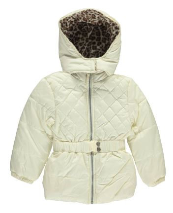 Pink Platinum Girls' Quilted Puffer Jacket with Cheetah Lining (Size 4)