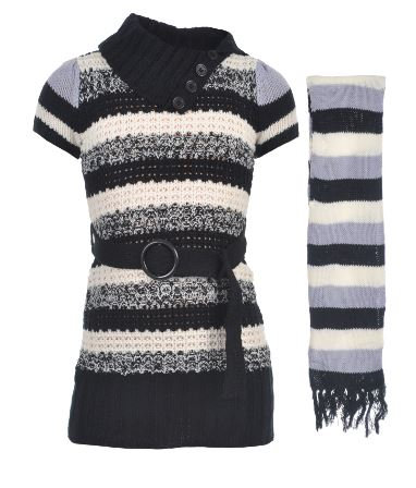 """MARBLED STRIPE"" SWEATER DRESS WITH SCARF (Size 4)"