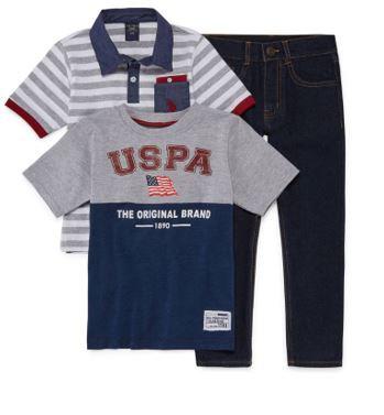 US Polo Assn. 3-Pc Set (Sizes 4-6)