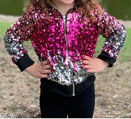 Girls Pink & Silver Sequin Bomber  Jacket