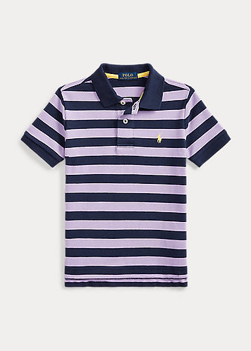 Boys Striped Cotton Mesh Polo Shirt
