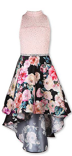 Ivory to Floral High Low Party Dress