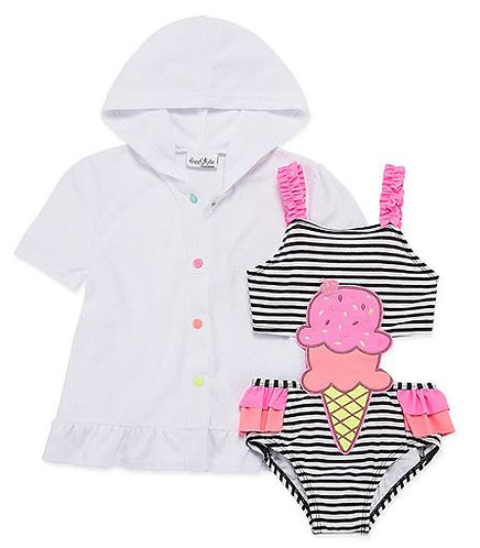 Baby Buns Girls One Piece+Cover-Ups-Toddler