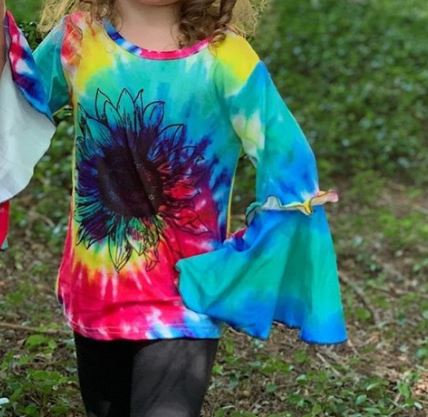 Tie Dye Printed Bell Sleeve Top w/ Printed Sunflower