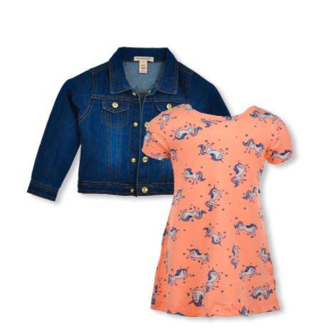 GIRLS' UNICORN 2-PIECE DRESS SET OUTFIT