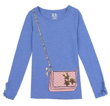 Girls Long Sleeve Fashion Top with 3D Flap Purse Pocket