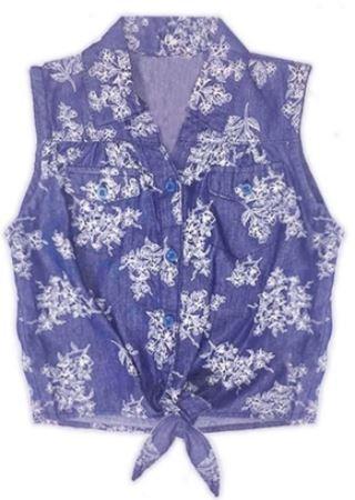 Girl's Rose Printed Sleeveless Chambray Shirt w/ Tie