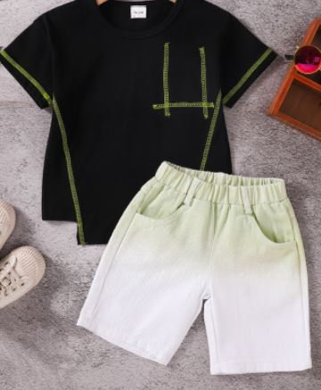 2-Pc Black Tee and Dyed Shorts Set