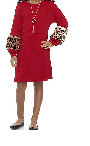 Red To Cheetah Print Sleeve Dress w/Necklace