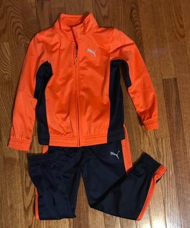 Boys Puma Orange Jacket & Navy Joggers Active Set