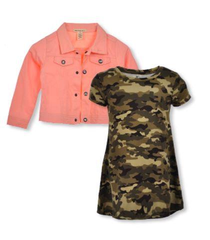 GIRLS' CAMO 2-PIECE DRESS  OUTFIT