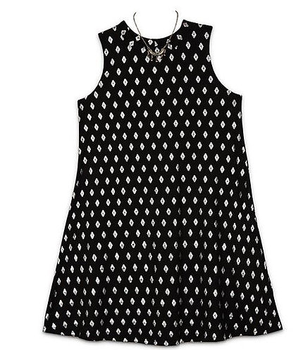 Amy Byer Vertical Wallpaper Mock Knit Dress w/Necklace