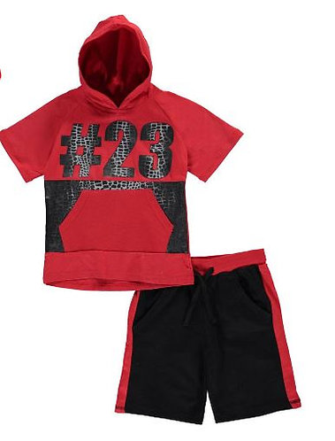 """#23"" 2-Piece Short Set (Colors: Red-4T, Gray-2T )"